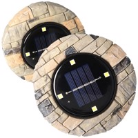 2er Set LED Solar Bodenstrahler, Polyresin, wasserdicht IP44, inklusive NiMH AAA 1,2V 200mAh Akku Produktfoto