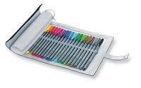 triplus fineliner schwarzes Rollmäppchen mit 20 Farben Produktfoto