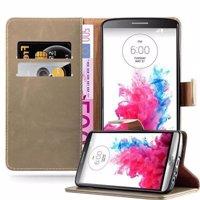 Cadorabo Hülle für LG G3 in CAPPUCCINO BRAUN – Handyhülle mit Magnetverschluss, Standfunktion und Kartenfach – Case Cover Schutzhülle Etui Tasche Book Klapp Style Produktfoto