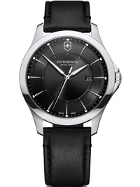 Wenger Uhr - Alliance Ø 40, black dial, silver stainless steel case, strap black leather Produktfoto