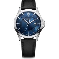 Wenger Uhr - Alliance Ø 40, blue dial, silver stainless steel case, strap black leather Produktfoto