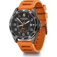 Wenger Uhr - FieldForce GMT Ø42, gun metal, black dial, orange rubber strap Produktfoto