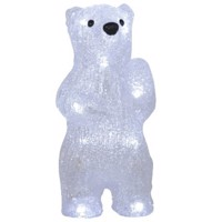 Kristall Bär 20cm mit 12fach LED Beleuchtung weiß inklusive Batterien Produktfoto