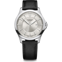 Wenger Uhr - Alliance Ø 40, white dial, silver stainless steel case, strap black leather Produktfoto