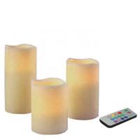 LED Kerzen-Set mit Farbwechsel und Fernbedienung 3-teilig im Set Produktfoto