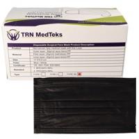 50 Stück medizinische OP-Maske Typ IIR 3-Lagig Schwarz, zertifiziert nach DIN EN 14683:2019+AC:2019(E), OP-Mundschutz Produktfoto