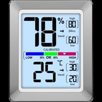 Technoline WS 9460 - moderne Raumklimastation mit Temperatur- und Luftfeuchteanzeige in chrom/weiß Produktfoto