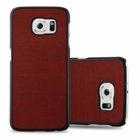 Cadorabo Hülle für Samsung Galaxy S6 in WOODY ROT – Hardcase Handyhülle aus Plastik gegen Kratzer und Stöße – Schutzhülle Bumper Ultra Slim Back Case Hard Cover Produktfoto