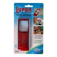 Lupe mit LED-Beleuchtung und 3fach Vergrösserung Farbe Rot, in Blisterverpackung Produktfoto