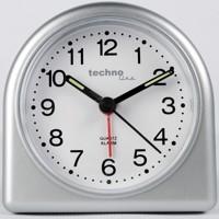 Technoline Modell SD - analoger Quarzwecker mit nachtleuchtenden Zeiger und Weckalarm in silber Produktfoto