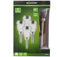 4er Set LED Solar-Wegeleuchte mit bis zu 3 Lumen, rostfreier Edelstahl, mit Standard NiMH Akku, GL049EZ Produktfoto