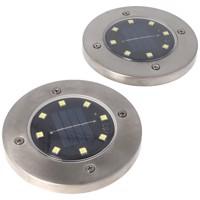 2er Set LED Solar Bodenstrahler, Edelstahl, wasserdicht IP44, inklusive NiMH AA 2,3V 400mAh Akku Produktfoto