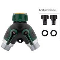 3/4 Premium 2-Wege-Verteilung einfach auf 2x Hahnstück Farbe schwarz-grün Produktfoto