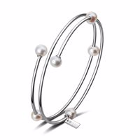 MIDORI Armreif Silber/weiße Perle Produktfoto